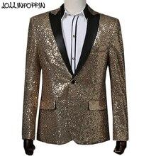 Chaqueta de traje de lentejuelas doradas para hombre GD mismo estilo traje de escenario chaqueta de cuello cerrado para hombre chaqueta Blazer DE BODA roja Paillette