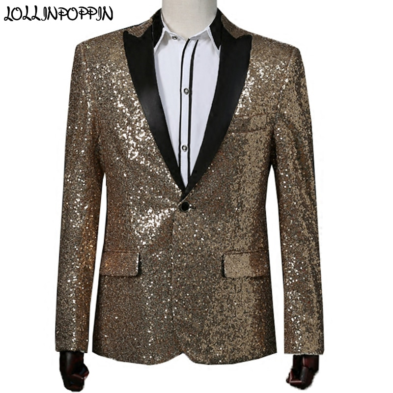 Men Gold Sequin Suit Jacket GD Same Style Stage Costume Closure Collar Jacket Mens Paillette Red Wedding Blazer Jacket