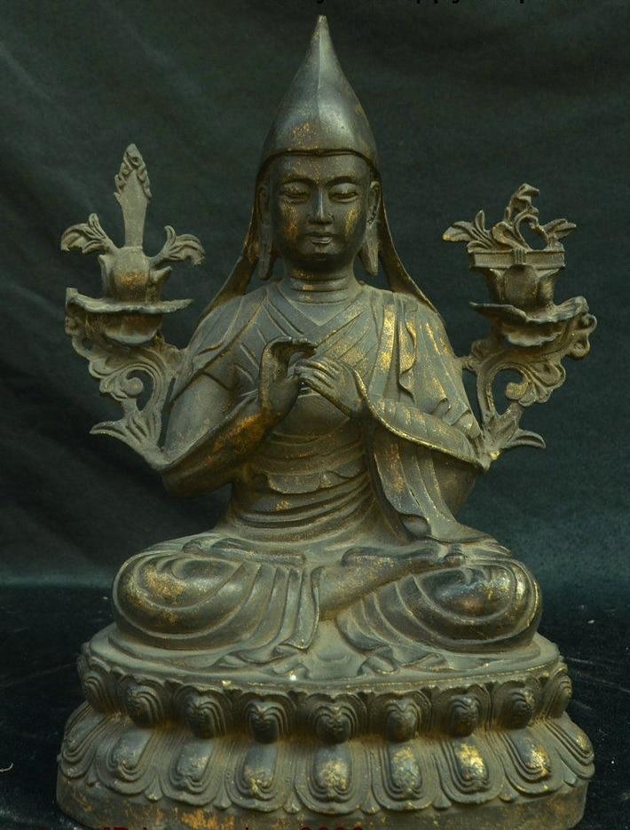 Antiguo budismo Tibet bronce dorado Je Tsongkhapa Lama Tsong Khapa Buddhas sentado estatua