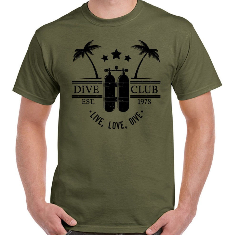 New 2020 Cotton Live Love Dive Mens Funny Scuba Diving T-Shirt Diver Diving Equipment Short-Sleeve T-Shirt