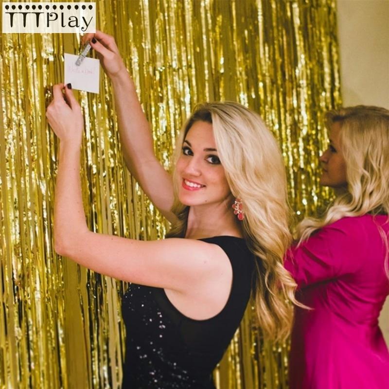 1x2 metros hoja de oro de Rose oropel de flecos cortina guirnaldas de borla telón de fondo de fotografía para boda suministros de decoración para fiesta de cumpleaños