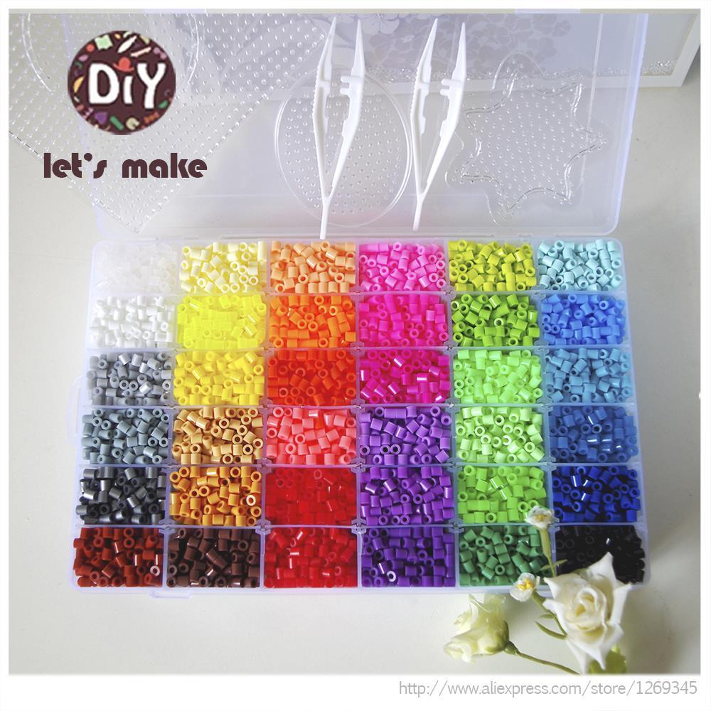 Cuentas Perler de 36 colores, 10000 piezas, cuentas de planchado 5mm Hama, cuentas fusible (2 plantillas + 5 Papeles de hierro + 2 pinzas) rompecabezas Diy