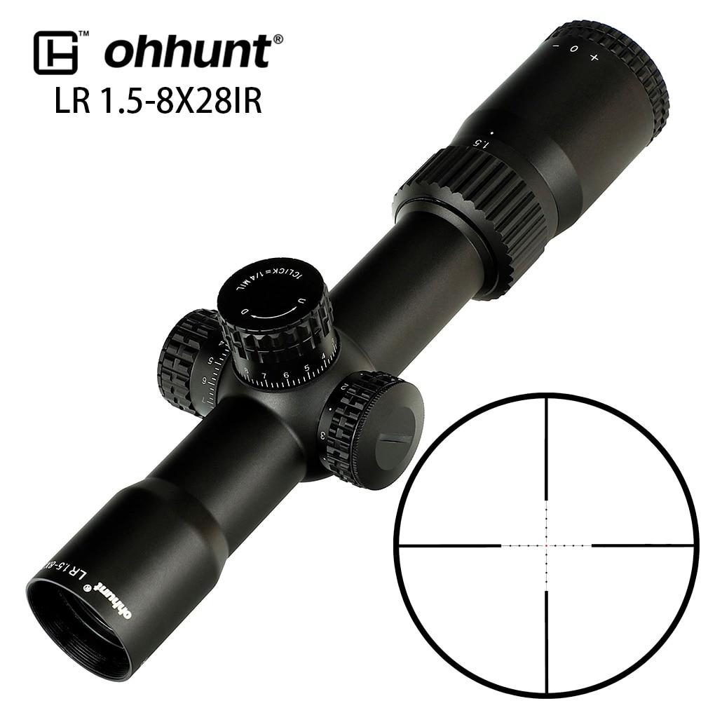 Ohhunt lr 1.5-8x28 ir huitng riflescope mil dot vidro gravado retículo tático mira óptica torreta redefinir bloqueio para rifle scope