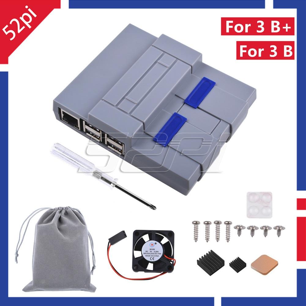 Carcasa 52Pi estilo NES Kit de carcasa SNES con ventilador de refrigeración disipadores de calor para Raspberry Pi 3 Modelo B Plus/3 B/2 B/snesp