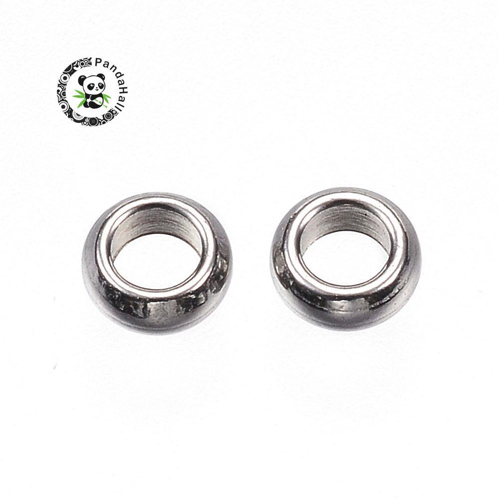 Espaciadores de cuentas de acero inoxidable 304, anillo, Color de acero inoxidable, 4x1,5mm, agujero 2mm