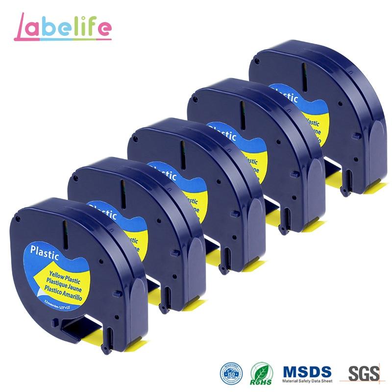 Labelife 5 pacote 12mm * 4m amarelo plástico letratag etiqueta fita 91332 91222 91202 59423 para dymo letratag impressora lable lT-100H