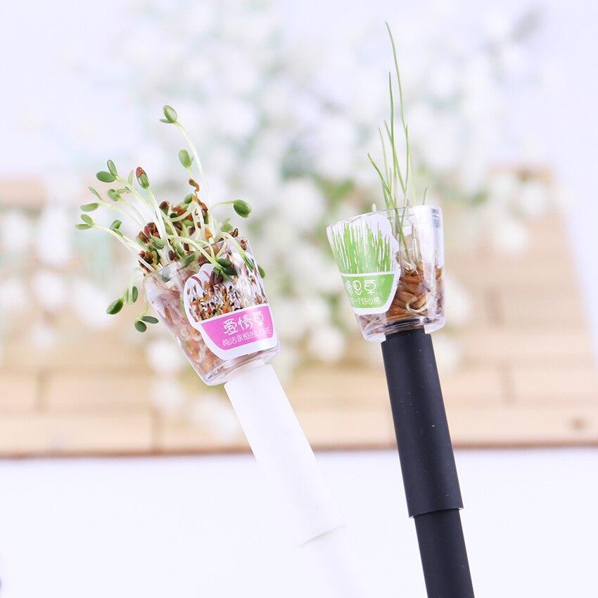 1 unidad de bolígrafos creativos de Gel para cultivar plantas de 0,5mm, pluma negra para cultivar hierba en el jardín, papelería escolar para oficina, regalo encantador para amantes de los niños