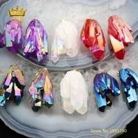 5pcs random color salelarge titanium quartz stick point pendantnatural quartz raw crystals with gold clasp cluster spike charm