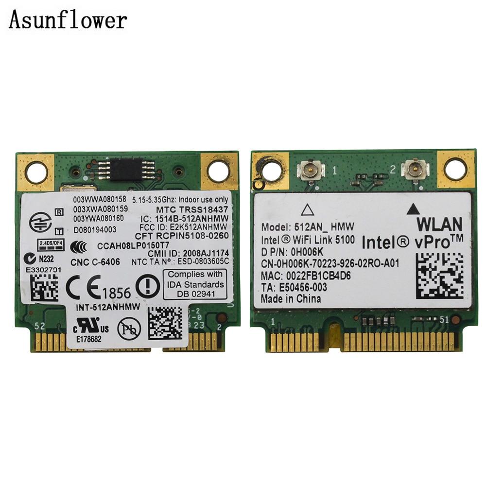 Беспроводная карта 512AN_HMW для Intel WiFi Link 5100 MINI PCI-E карта Wlan адаптер для ноутбука сеть 2,4G/5 Ghz для Dell