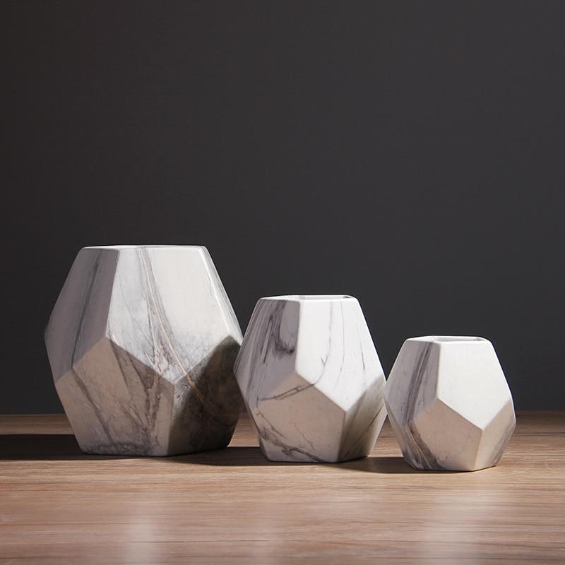 1 шт., современная белая мраморная ваза, Геометрическая, белая, керамическая, для цветов, настольная, настольная, для украшения дома и офиса, 10...