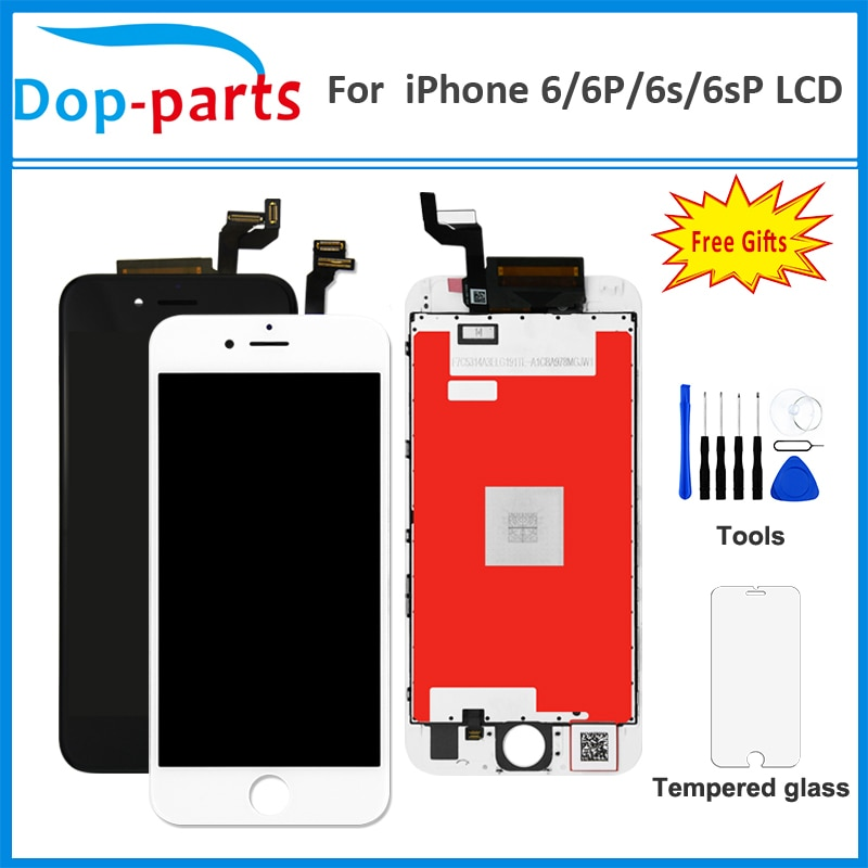 LCD para iPhone 6/6 S/6 S PLUS LCD OEM digitalizador de pantalla sin píxeles muertos montaje de pantalla táctil completo + vidrio templado + herramienta