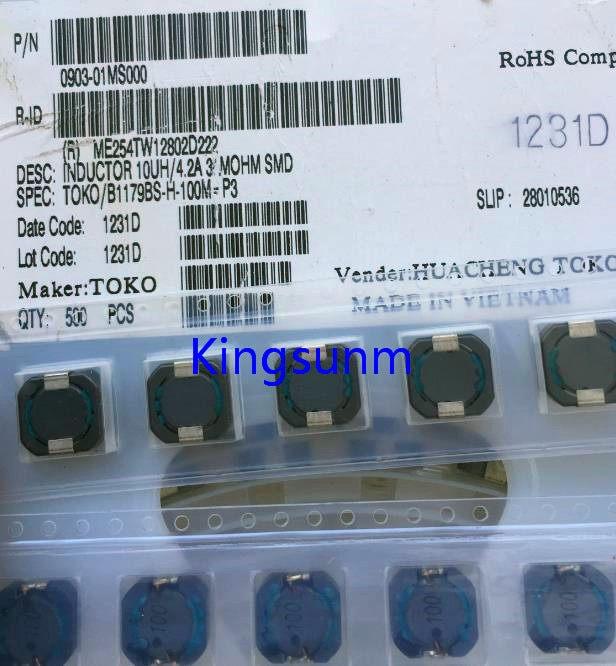 Индуктор мощности TOKO, 10 шт., B1179BS-H-100M = P3 10,4*10,4*4 10uh 4.2A, бесплатная доставка