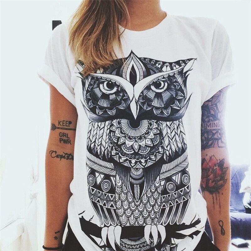 Cdjlfh camiseta feminina de verão, moda para mulheres, manga curta, coruja, original, harajuku, impressão, plus size