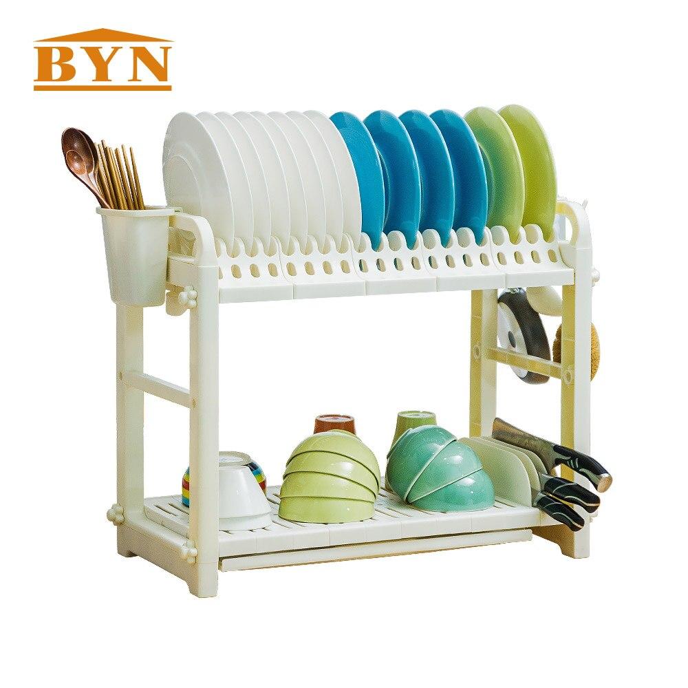 BYN, accesorios de cocina, soporte de utensilios, escurridor de platos, escurridor blanco de PP, estante de secado de cocina, DQ1301-1