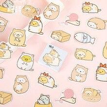45 Pcs/box Cute gawk Cat Label Kawaii Diary Handmade Adhesive Paper Flake Japan Sticker Scrapbooking Stationery Stationery