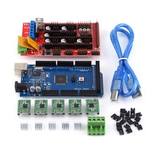 3D Printer kit RAMPS 1.4 Controller + MEGA2560 R3 + 5pcs Soldered A4988 Drivers With Heat Sink USB Calbe Jumper Kit