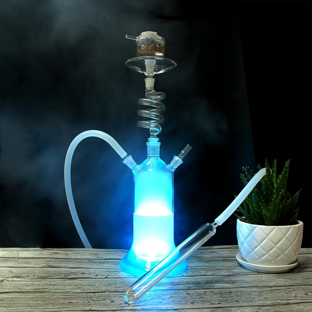 NEW TWIRL GLASS SHISHA HOOKAH LED LIGHT REMOTE CONTROL SPIRAL SPRING CHICHA NARGUILE TUYAU FOYER SMOKING WATERPIJP enlarge