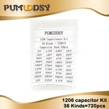 Kit surtido de condensadores 1206 SMD, Kit de muestras 36 valores * 20 piezas = 7 20 piezas 1pF ~ 10uF kit diy electrónico envío gratis