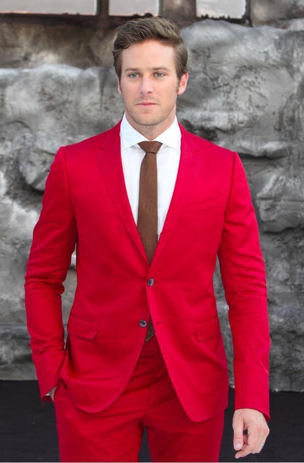 2 piezas (chaqueta + Pantalones + corbata) Custume Homme Terno Masculino solapa roja con dos botones