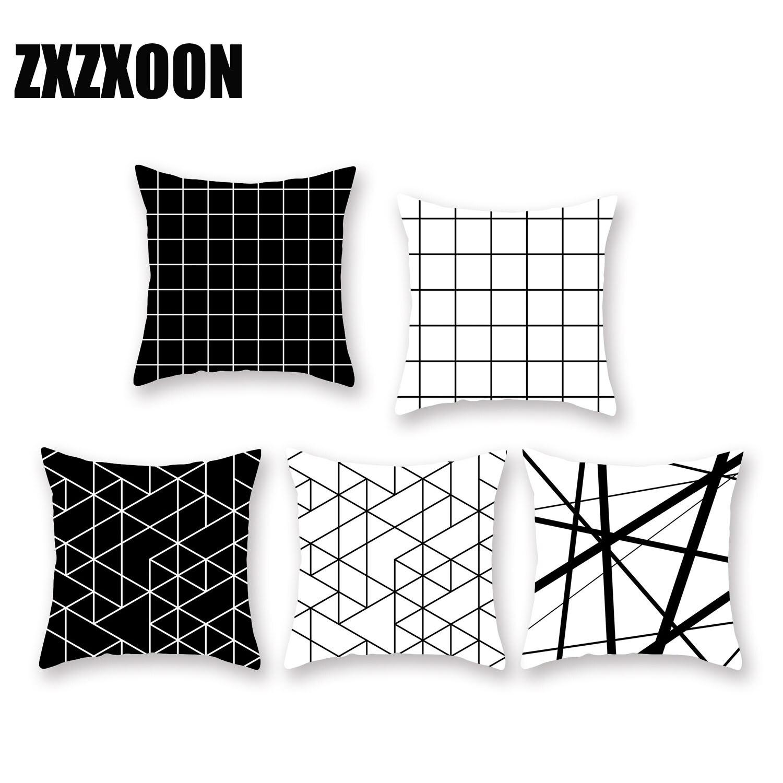 Funda de cojín con patrón geométrico en blanco y negro, funda de almohada con estampado geométrico, funda de almohada de poliéster, funda de cojín para sofá de 45x45cm