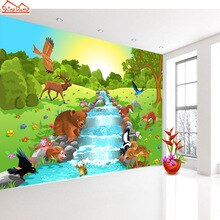 Shinehome-만화 동물 세계 강 사용자 정의 배경 화면 3d 어린이 어린이 아기 소녀 거실 침실 사용자 정의 벽 종이