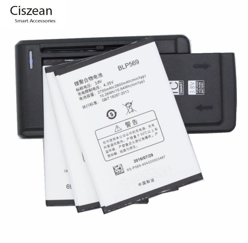 Ciszean 3 piezas 2700 mAh BLP569 reemplazo de la batería + Cargador Universal para OPPO Find7 X9000 X9007 X9006 X9077 X9070 celular teléfono