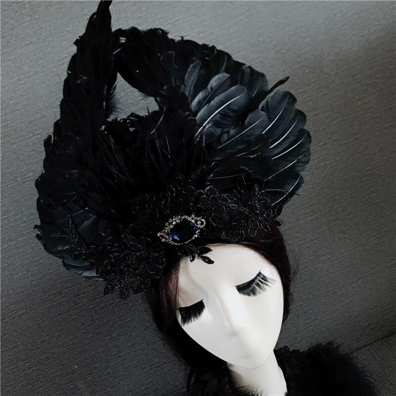 Decoración de cabeza de Ángel negro para Mujer Accesorios de cabeza de actuación moderna decoración de cabello de ángel accesorios de escenario de baile para el cabello