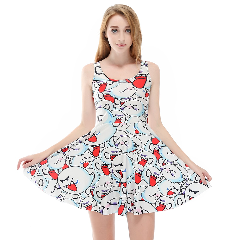 New Sleeveless Cartoon Rabbit Print Women Black Casual Dress Vestidoes Pleated Plus Size Summer Dresses S To 4xL