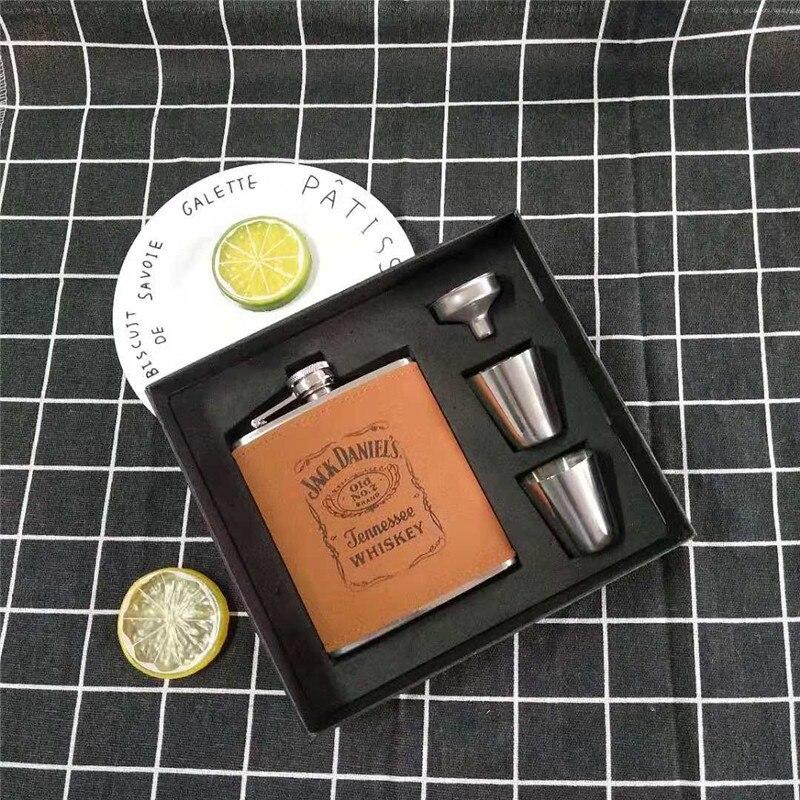 Bpa free 7/8oz whisky vodka flagon 304 Acero inoxidable licor JACK Petaca con envoltura de regalo de cuero PU set