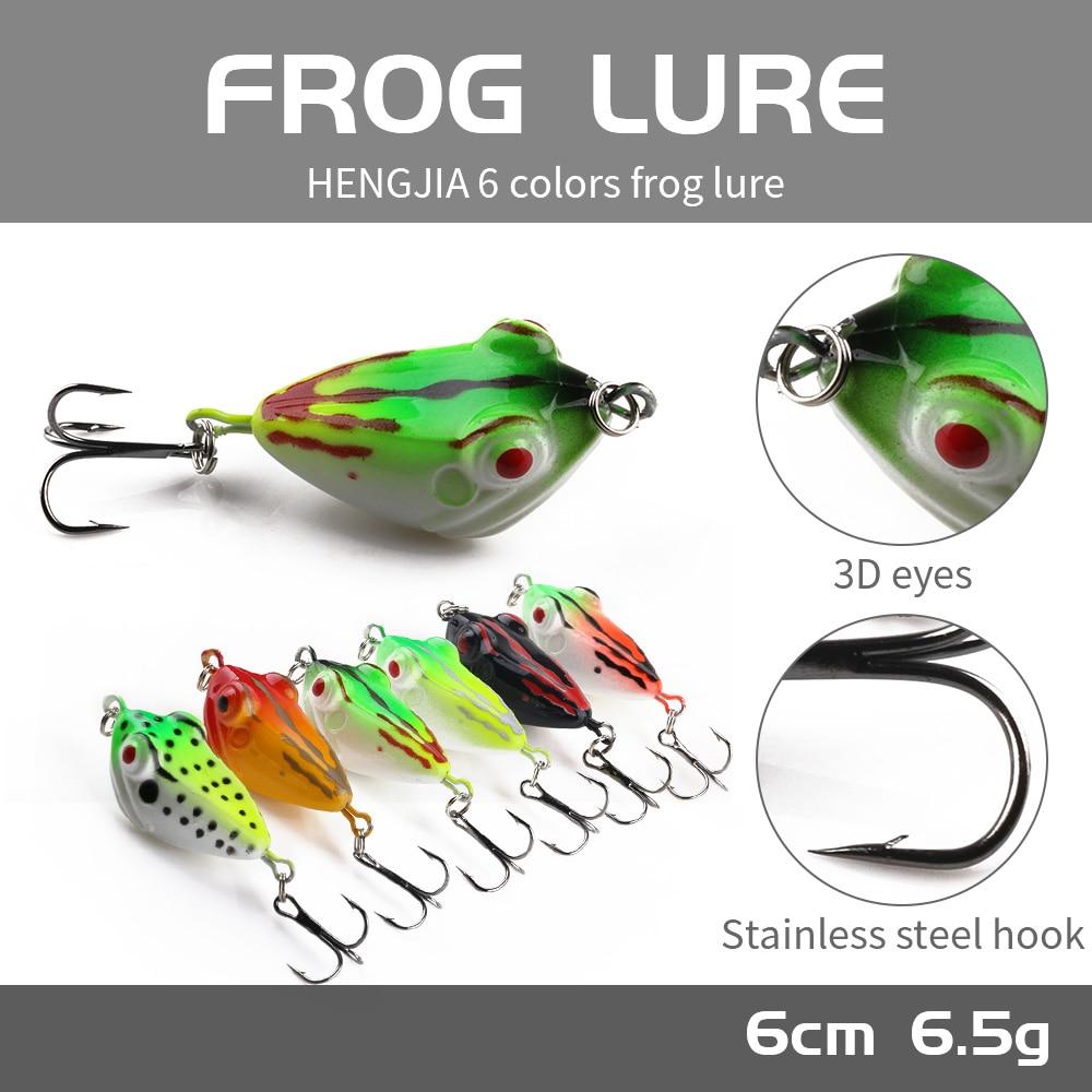 HENGJIA 1 Rana 40MM-6G-8 # gancho superior-agua 6 colores ojos 3D Artificial de silicona de goma suave cebo de pesca atraer