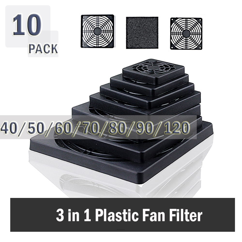 10 шт. Gdstime пылезащитный 40 мм 50 мм 60 мм 80 мм 90 мм 120 мм корпус вентилятора Пылезащитный фильтр решетка Защитная крышка Пластиковый Компьютерный Вентилятор