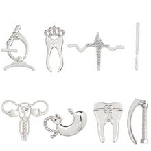 Медицинская брошка, сплав, зуб, микроскоп, гортань, скальпель, сердцебиение, желудок, женские броши, Значки для медсестры