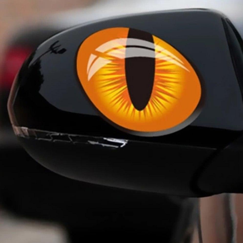 2 pçs 3d gato olhos etiqueta do carro simulação reflexivo auto decalque retrovisor espelho janela capa decoração exterior acessórios