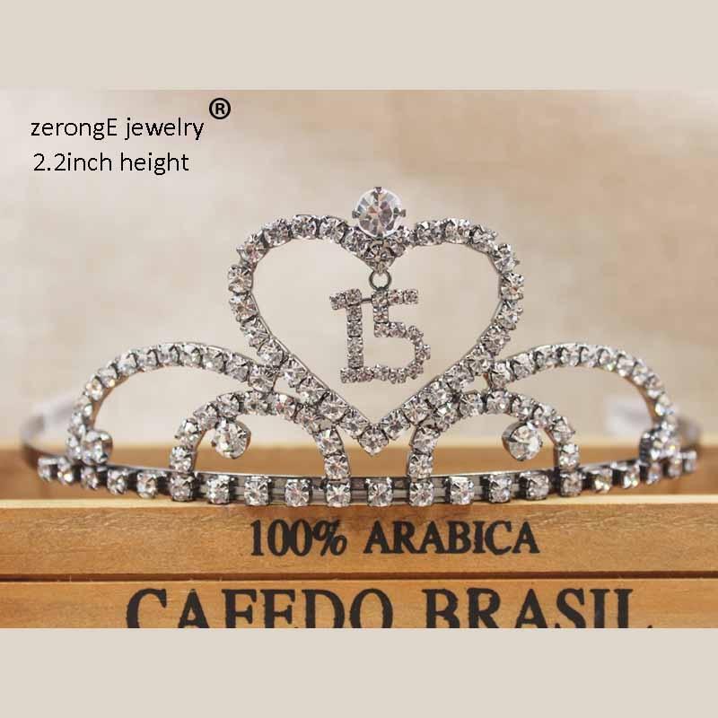 ZerongE jewelry Sweet 15 & 16/18/20/30/40/50/60 Birthday Crystal Heart Quinceanera Tiara .gunmetal/silver/gold jewelry tiara