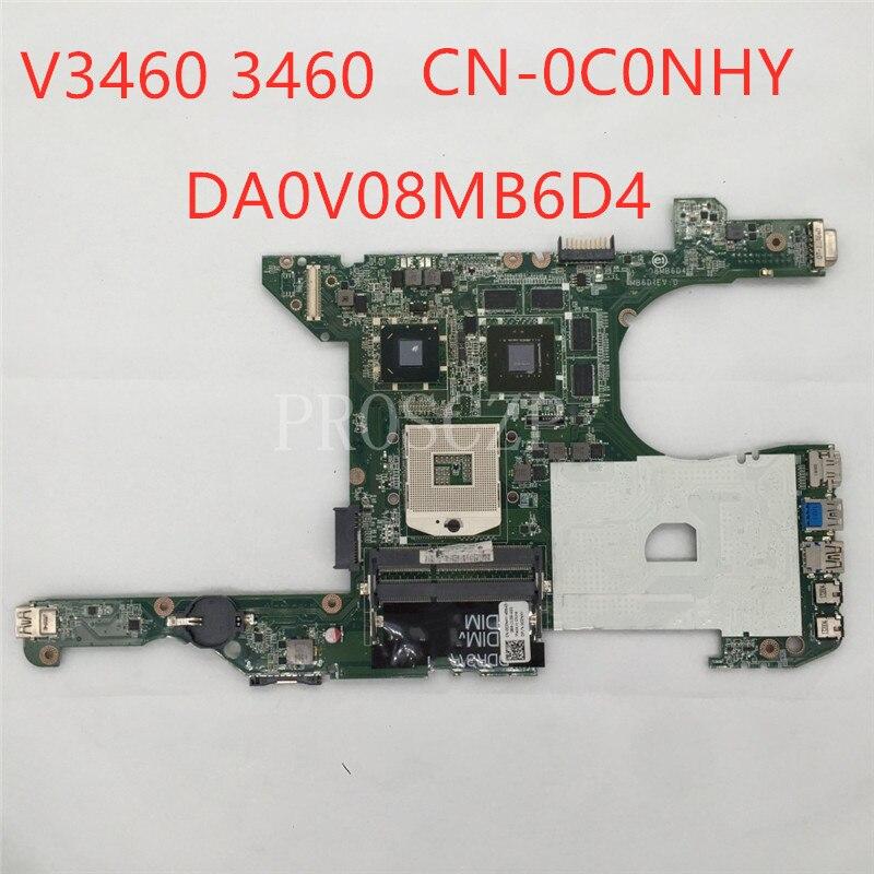 Envío Gratis para CN-0C0NHY 0C0NHY C0NHY V3460 3460 portátil motherboar DA0V08MB6D4 REV D SLJ8C DDR3 100% probada completa