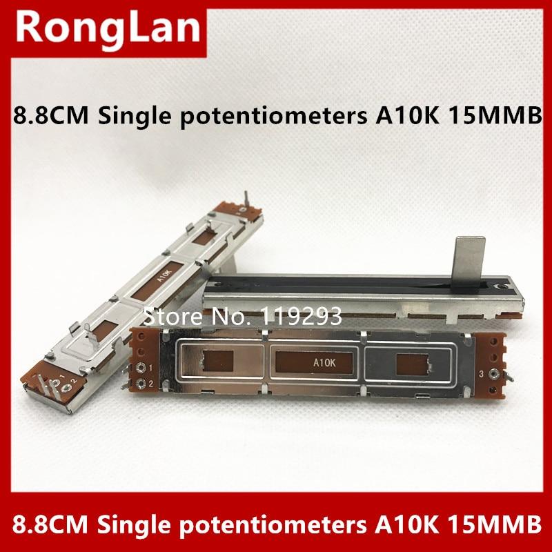 Potenciómetros de deslizamiento recto de 8,8 cm, 88MM de ancho, 15MM, posicionador de eje único A10K, mezclador de volumen Taipower, 10 Uds