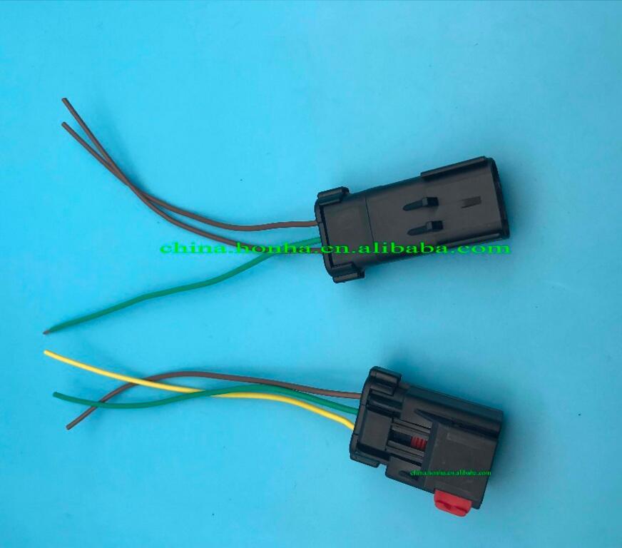 4897087AA 3 pinos macho e fêmea automotivo 3 pino de manivela eixo de came de bloqueio conector do sensor com fio de 15 cm 18AWG