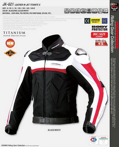 Frete grátis para novo Komine jk021 titanium liga passeio roupa da motocicleta jaqueta De roupas de couro genuíno auto rali
