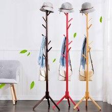 Simples piso de madeira maciça em pé casaco rack sala estar quarto roupas pendurado rack de armazenamento roupas cabide cabide rack