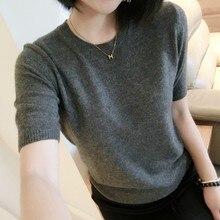 Frühling und sommer T-shirt sets von rundhals pullover frauen kurzarm Schlank faul stricken bodenbildung shirt kurzen mantel