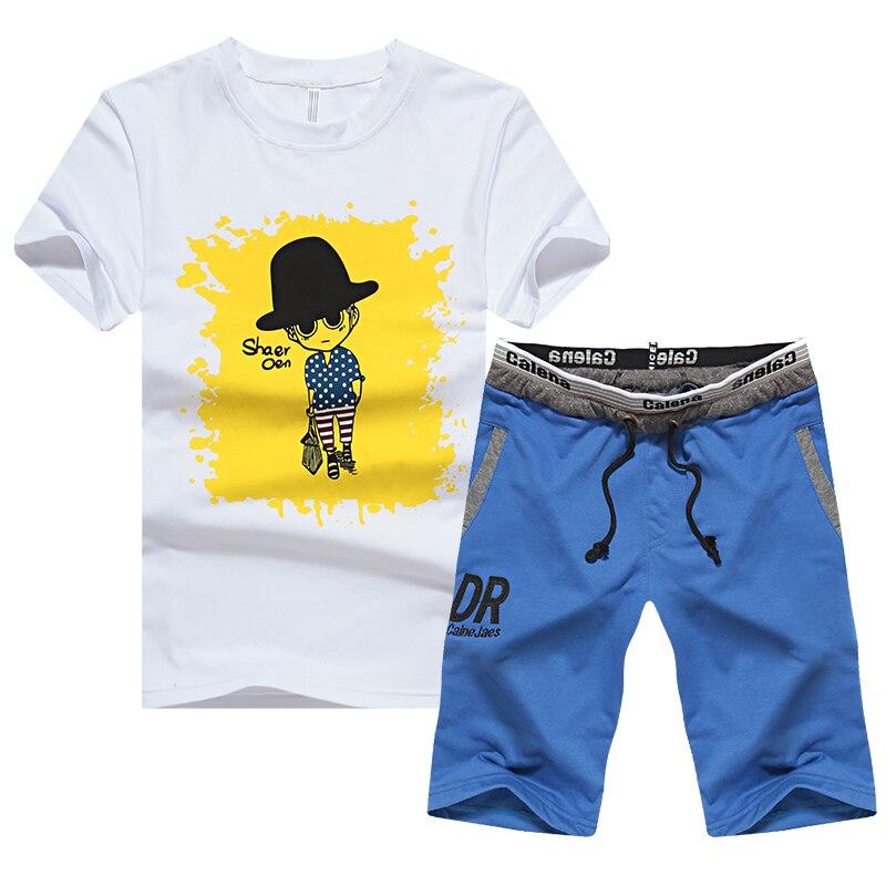 Mens Sport Set 2018 New Short Sleeve Tops And Short Bottoms Breathable Knitting Sportsuit Men Summer Gym Jogging Running Sets