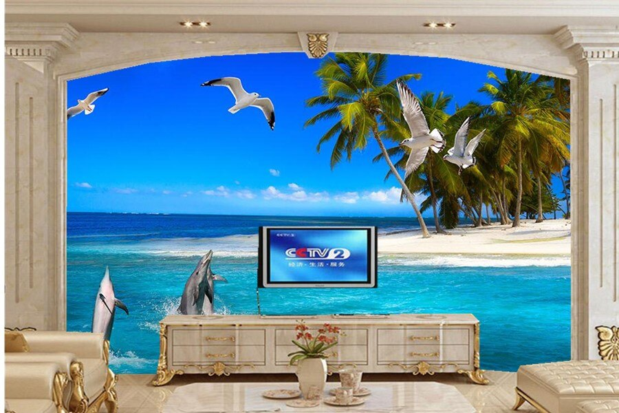 Papel pintado 3d personalizado Gran mural. Delfín creativo Palma mar gaviota, Sala tv sofá pared dormitorio papel tapiz 3d