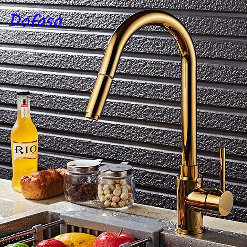 Dofaso, lujo, golden Deluxe, grifo mezclador de pulverización extraíble, grifo de cocina, grifo extraíble chapado en oro