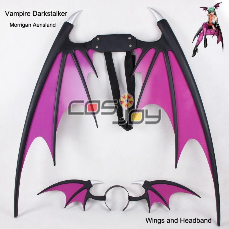 Vampiro Darkstalker Morrigan Aensland Asas e Cabeça PVC Cosplay Prop-0692