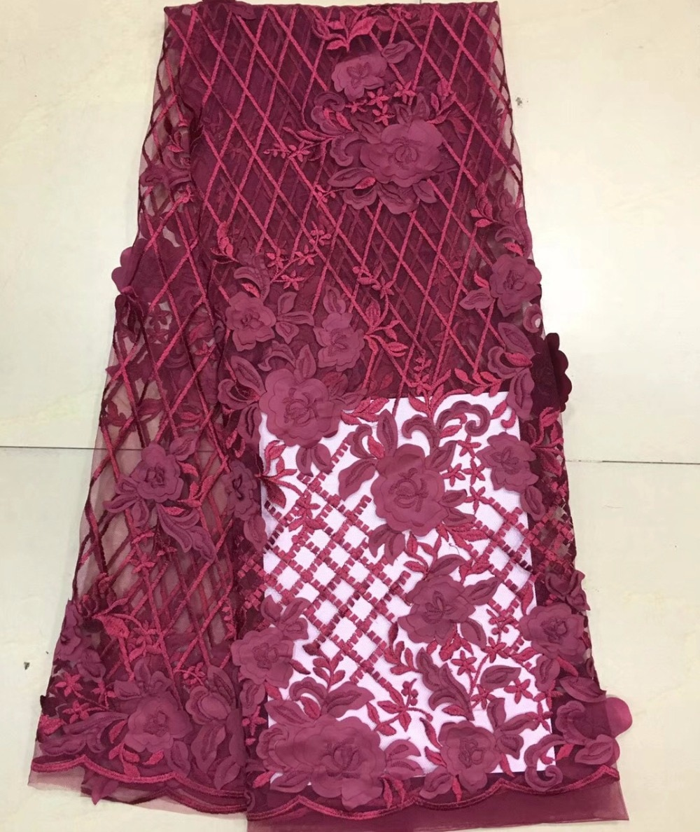 5yards African lace fabric with 3D flower on mesh embroidery Wholesale French bride Net Lace Fabric