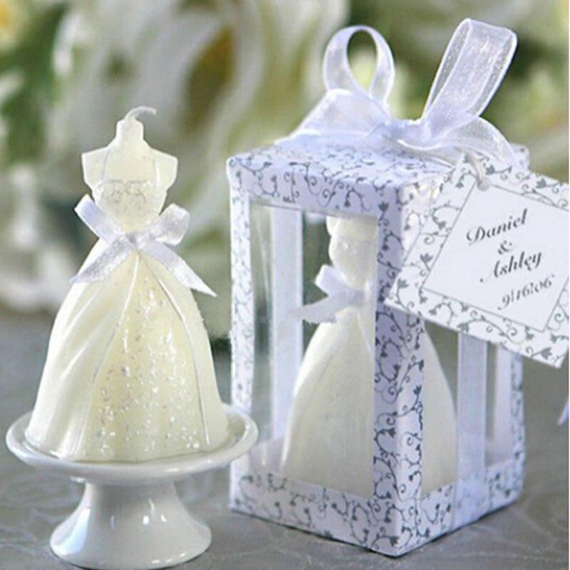 Blanco elegante en caja novia vestido de novia diseño vela boda fiesta decoración Día de San Valentín sorpresa Decoración