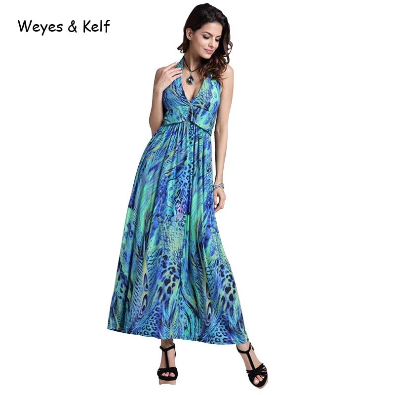 Weyes & Kelf Bohemian Printed Pleated Deep V-neck Long Dress Women 2018 Halter Sleeveless Vintage Boho Dress Maxi Vestidos Dress