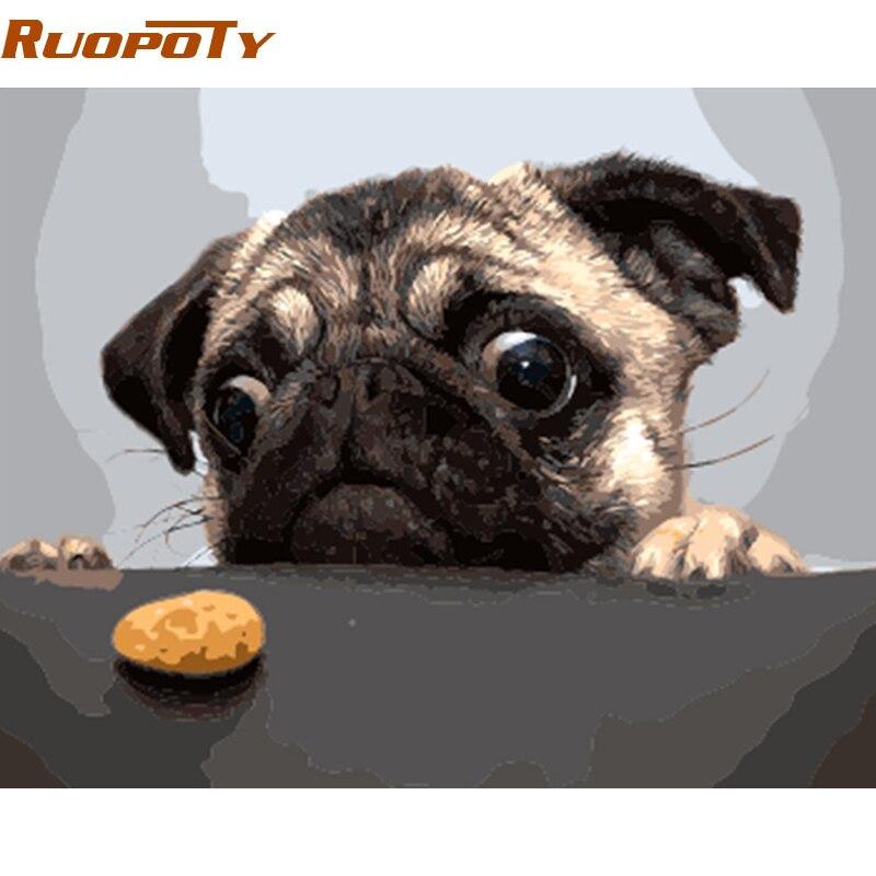 Фоторамка RUOPOTY для самостоятельной сборки, фоторамка с изображением собак и пирогов, картина по номерам, Современная Настенная картина, ручная работа, картина маслом, уникальный подарок для дома