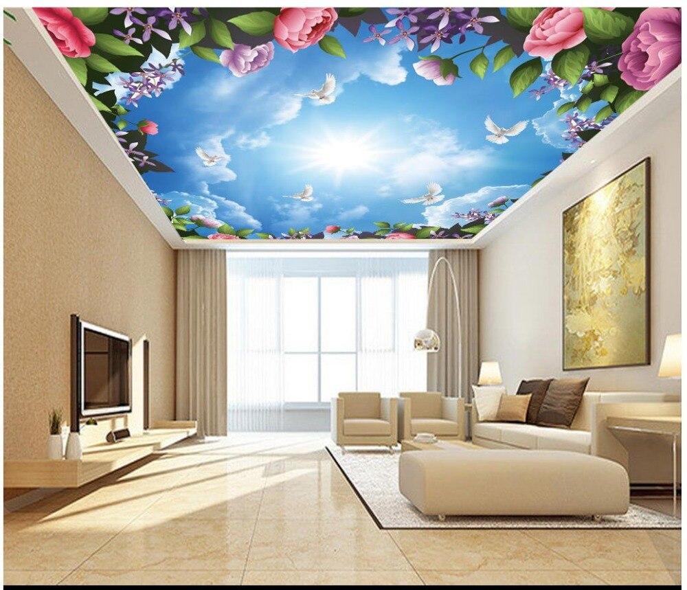 3d tapety klienta 3d tapety na suficie krajobraz mural piękne kwiaty biały gołąb niebo sufit chmury sufit malowidła
