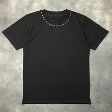 High New Novelty 19ss Men Metal rivet collar T Shirts T-Shirt Hip Hop Skateboard Street Cotton T-Shirts Tee Top kenye #655